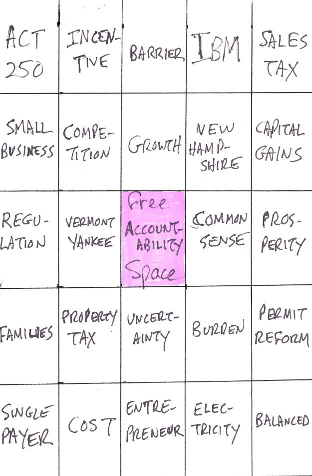Phil Scott Bingo card