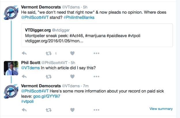 Dem/Scott Twitter exchange
